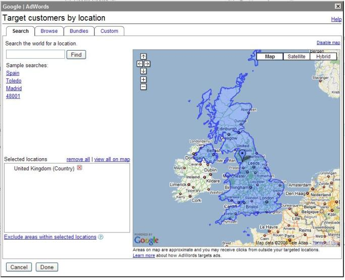 Screen shot set up geo targeting on Google