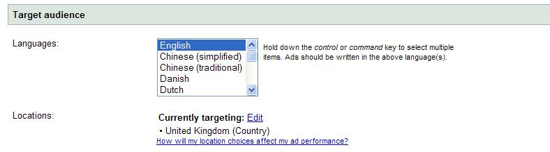 Screen shot- Target Audience set up on Google