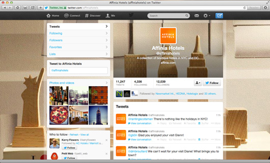 Affinia hotels twitter page