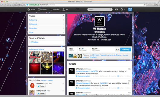W Hotels Twitter page on pc