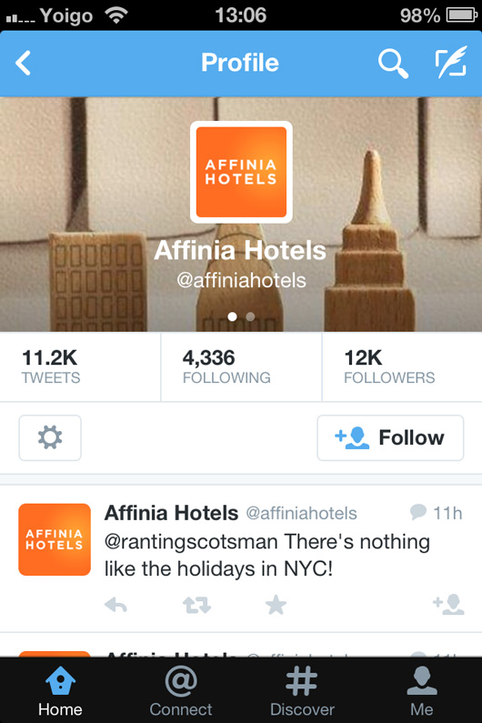 Affinia Hotels Twitter page on mobile