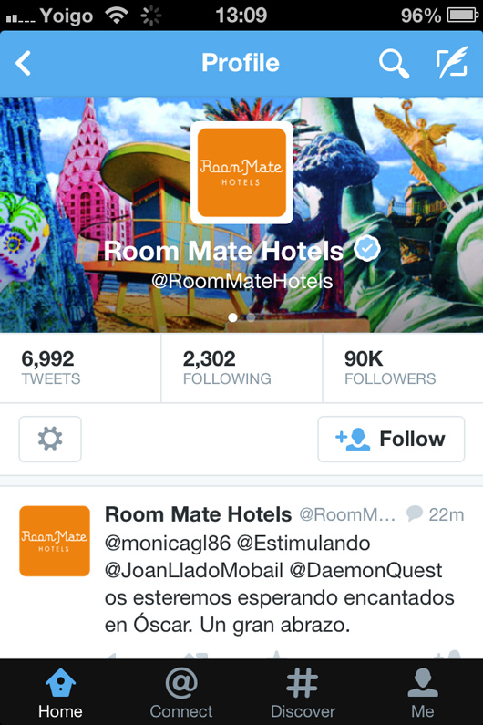 Room Mate Hotels Twitter page on mobile