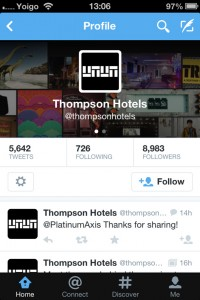 Thompson Hotels Twitter page on mobile