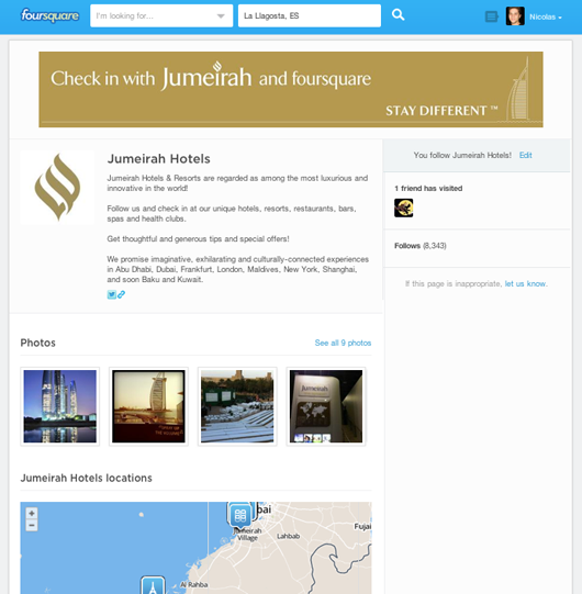 Jumeirah hotels foursquare page on pc